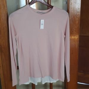 Ann Taylor Loft Pink and White Long Sleeve Shirt